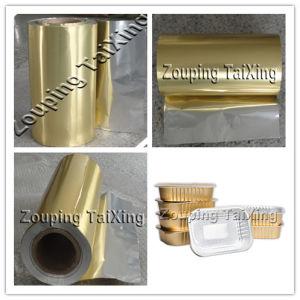 Lámina de aluminio dorado con PP Film para contenedor de alimentos