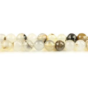 Couleur naturelle de perles à facettes d'Agate Round Gemstone (SL44082)