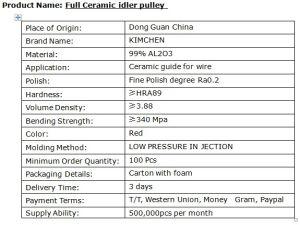 99% глинозема керамические направляющую провода Шкив с подшипником (TC15-1)