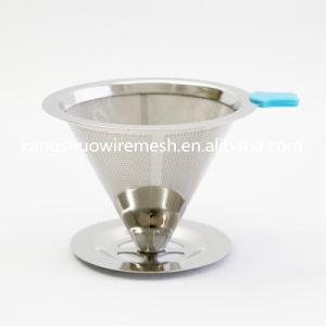 Cónica reutilizables en acero inoxidable filtro de café y una sola taza de café Dripper Coffee Hopper