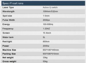 Berufspicosekunde-Laser Nd YAG Laser-wirkungsvolle Tätowierung-Abbau-Maschine