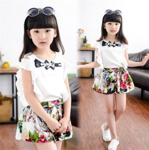 2015 estate New Fly coreano Sleeve e Floral Shorts Suit