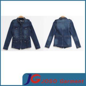 Fermeture à glissière en métal Collier Demin veste femmes Jean (JC4063)