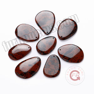 Cabochon ovale en acajou naturel de l'Obsidienne taille poire Gemstone