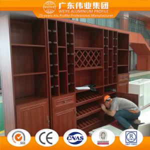 Gabinete do perfil de alumínio com variedade de grãos de madeira