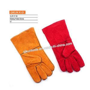 K-01 de volledige Handschoenen van het Lassen van de Veiligheid van het Leer van de Koe Werkende