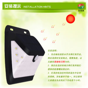 Resistente al agua Powered LED del panel solar lámpara solar jardín al aire libre de la luz de pared