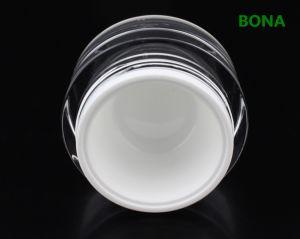 ふたが付いている円形のプラスチックアクリルの贅沢なクリーム色の瓶