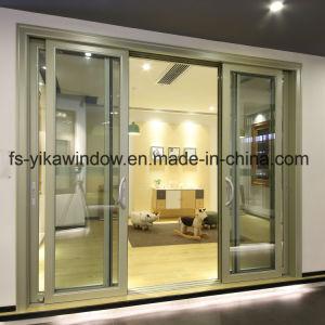 Yika triple de la puerta del Patio de Cristal Templado de doble carril de la puerta corrediza de aluminio con mosquitero