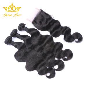 自然で黒いカラー#1bバージンの毛の束のための100%年のRemyのブラジルの人間の毛髪