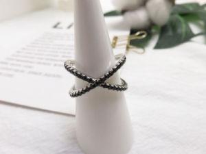 Ring van de Steen van CZ van de Manier van de edelsteen de Zwarte in Echte Strook 925