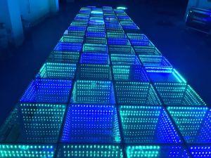 Fiesta de Bodas Discoteca Mirror 3D LED de túnel del tiempo del panel de pista de baile para la venta