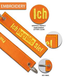 Doppio tessuto laterale su ordinazione Keychain del ricamo per la modifica chiave di promozione