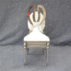 Empilage de gros Silver Gold Hôtel Location de salles de banquet de mariage d'Infiniti Dior parti en acier inoxydable Président pour l'événement et de cuir blanc Restaurnt (SS-YZ133)