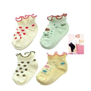 Los bordados tejidos de punto de algodón de bambú calcetines bebé antideslizamiento