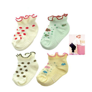 Bordado Tricotado Bamboo Cotton Anti-Slip Baby Sock