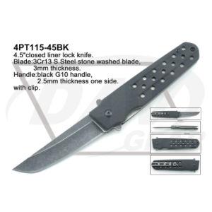 4.5 Cerrado Liner Lock Negro maneja el cuchillo con piedra lavada: 4PT111-45bk