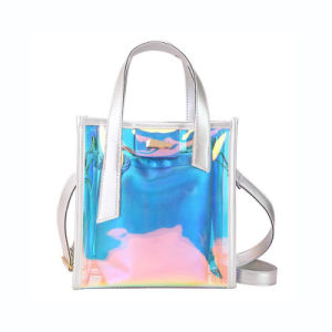 Venda por grosso de PVC Laser Transparente Tote Bags Bolsas Mulheres 2019