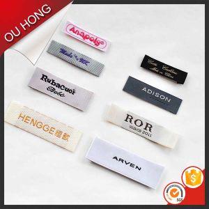 Comercio al por mayor de alta densidad de colores personalizada etiqueta tejida en la etiqueta de prendas de vestir