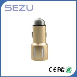 2 in 1 caricatore Emergency doppio dell'automobile del USB con il martello di sicurezza del metallo per il iPhone e Samsung