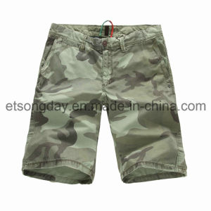Il camuffamento verde ha stampato gli Shorts 100% degli uomini del cotone (GD215)
