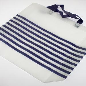 Rayures horizontales personnalisé de sacs de magasinage non tissé blanc