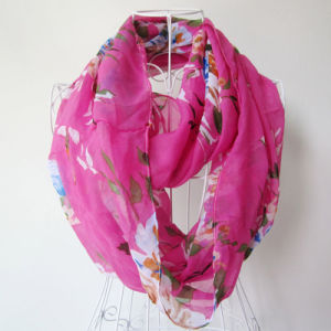 Dama moda impreso de flores de seda, Chiffon infinito Primavera Bufanda (YKY1095)