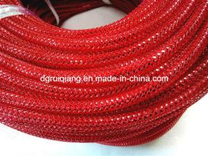 8mm tubo de malla de Deco rojo metalizado.