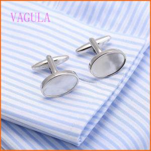 Rhodium Geplateerde Manchetknopen van het Overzeese van het Koper VAGULA Shell Overhemd
