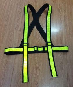 Fluorescente de alta visibilidad ajustable cinta reflectante de PVC Chaleco de guillotina de seguridad