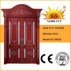 Portello di legno dell'entrata di legno esterna reale della parte superiore (SC-W028)