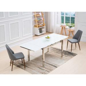 Vidrio templado de color blanco de acero inoxidable moderna mesa de ...