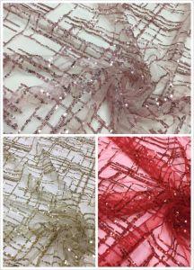 方法刺繍のスパンコールのレースの光沢がある服のきらめきの網のレースファブリック