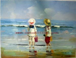Het Olieverfschilderij van de Jonge geitjes van het strand (CH-001)