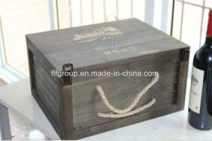 Cuadro de antigüedades de madera Vintage de té Caja con ventana transparente