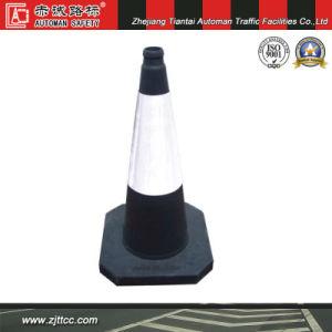 Isreal standard d'avertissement de sécurité routière en caoutchouc noir cône avec bandes réfléchissantes blanc (CC-A28).