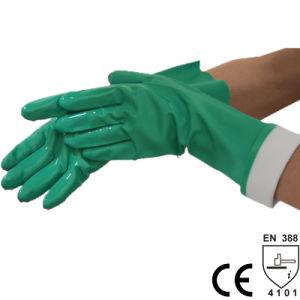 Nmsafety 15 Mil Durable Grey forrado de nitrilo verde disolvente químico Guantes industriales