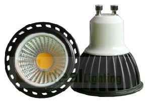 LED GU10 5W Reflector COB Spotlight 100-240V Black Aluminum