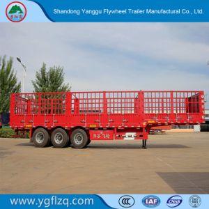 Gemaakt in China gebruikte wijd de Staak van 3 Assen/de Zij Semi Aanhangwagen van de Vrachtwagen van de Raad/van de Omheining voor Lading/Fruit/Vee/Mineraal