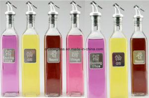 Zufuhr-Glasflasche des Öl-500ml mit Dekoration