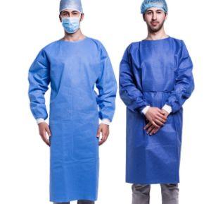 Desechables de médico cirujano Nonwoven bata quirúrgica de aislamiento