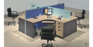 Estación de trabajo típica de madera de diseño personalizado de vidrio de 4 personas Escritorio (SZ-WS346)