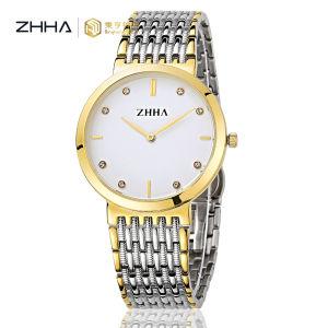 Zhha resistente al agua de plata de los índices de diamantes relojes de la pareja