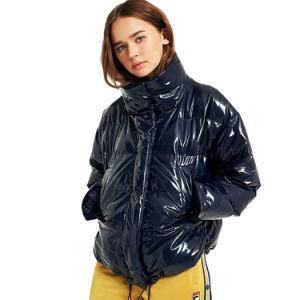 Дамы обрезанной Виниловая подушка Puffer темно-синий ВМС вниз куртка покрыть женщин для использования вне помещений зимняя одежда молнию вверх куртку ветровку
