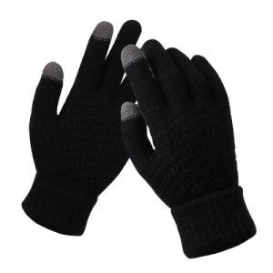 Tricotado térmica em pele fria ao toque de acrílico para manter quente luvas de Inverno