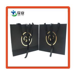 Custom черный мешок для подарков бумаги с золотым горячей штамповки