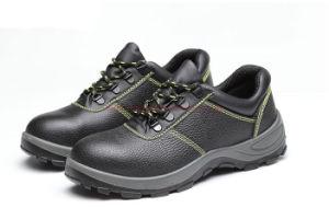 Parte superior de cuero Puntera de acero de trabajo de los hombres Zapatos de seguridad