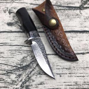 Cuchilla de acero de Damasco cuchillo caza Camping Cuchillo de supervivencia al aire libre