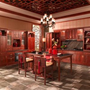 Rojo chino antiguo armarios de cocina de madera sólida (OP13-013)