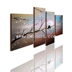 Het moderne Abstracte Olieverfschilderij van de Bloem van het Landschap van de Vogel